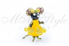 Mouse with dress 5x3.5cm with crystals Swarovski 1