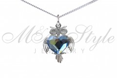 Pendant 20x15mm Silver owl - Denim Blue 1