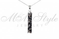 Necklace Crystal Rocks 30mm Jet and Chrome 1
