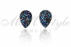 Earrings Tear Crystal Rocks 14mmMetal Blue and  Bermuda Blue