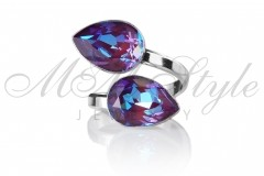 Ring double pear 14x10mm - Burgundy Delite 1