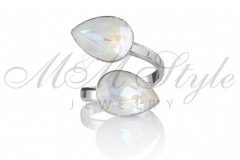 Ring double pear 14x10mm - Light Gray 1
