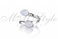 Ring with double Pear 6x8mm White Opal 1