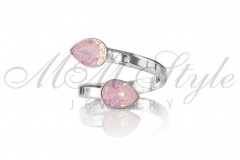 Ring with double Pear 6x8mm Rose Water Opal 1