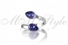 Ring with double Pear 6x8mm Tanzanite 1