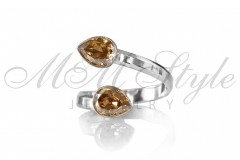Ring with double Pear 6x8mm Golden Shadow 1