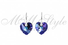 Earrings hearts 18mm Heliotrope