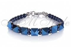 Bracelet with Spike and Pearls Metal Blue