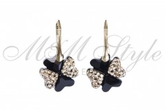 Earrings clover 19mm - Jet dnd Gold 1
