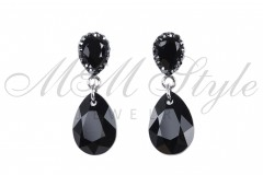 Earrings pear cut 16mm - Jet 1