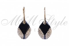 Earrings Cubist 22mm - Jet and Gold 1