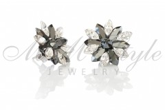 Silver earrings 25mm Narcissus - Jet Hematite, Crystal 2