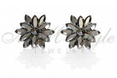 Silver earrings 25mm Narcissus - Jet Hematite 1