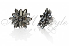 Silver earrings 25mm Narcissus - Jet Hematite 2