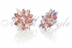 Silver earrings 25mm Narcissus - Light Rose, Crystal AB 2