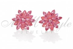 Silver earrings 25mm Narcissus - Lotos Pink, Rose