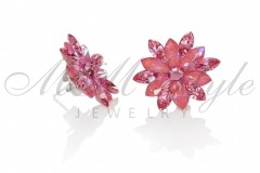 Silver earrings 25mm Narcissus - Lotos Pink, Rose 2