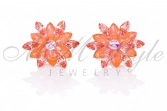 Silver earrings 25mm Narcissus - Orange Glow, Rose Peach