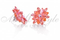 Silver earrings 25mm Narcissus - Orange Glow, Rose Peach 2