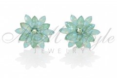 Silver earrings 25mm Narcissus - Pasific Opal, Silki Sage 1