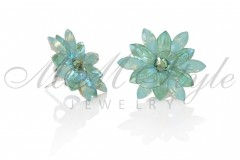 Silver earrings 25mm Narcissus - Pasific Opal, Silki Sage 2