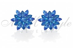 Silver earrings 25mm Narcissus - Royal Blue Dell., Sapphirer