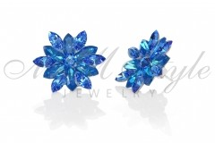 Silver earrings 25mm Narcissus - Royal Blue Dell., Sapphirer 2