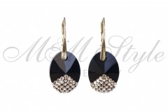 Earrings Oval 18mm - Jet and Gold 1