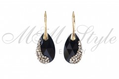 Earrings gold pldted pear shaped 22mm - Jet 1