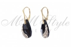 Earrings gold pldted pear shaped 22mm - Jet 2