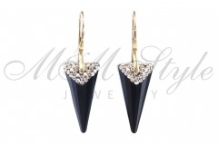 Earrings Spike 28mm Jet with golden plated 1