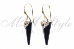 Earrings Spike 28mm Jet with golden plated 2
