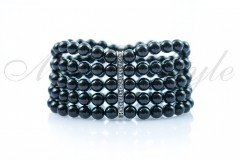 Elastic bracelet with black pearls 6mm 1