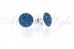 Earrings crystal rocks 14mm - Bermuda Blue