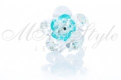 Ring flower - Crystal and Light Turquoise 1