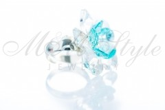 Ring flower - Crystal and Light Turquoise 2