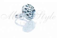 Ring 20mm with leaves - Jet Hematite and Crystal AB 2