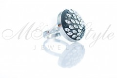 Ring 20mm with leaves - Crystal and Silver Night 2
