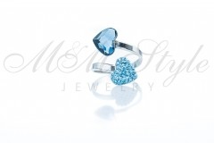 Ring with double hearts 10mm - Denim Blue and Aqua 1
